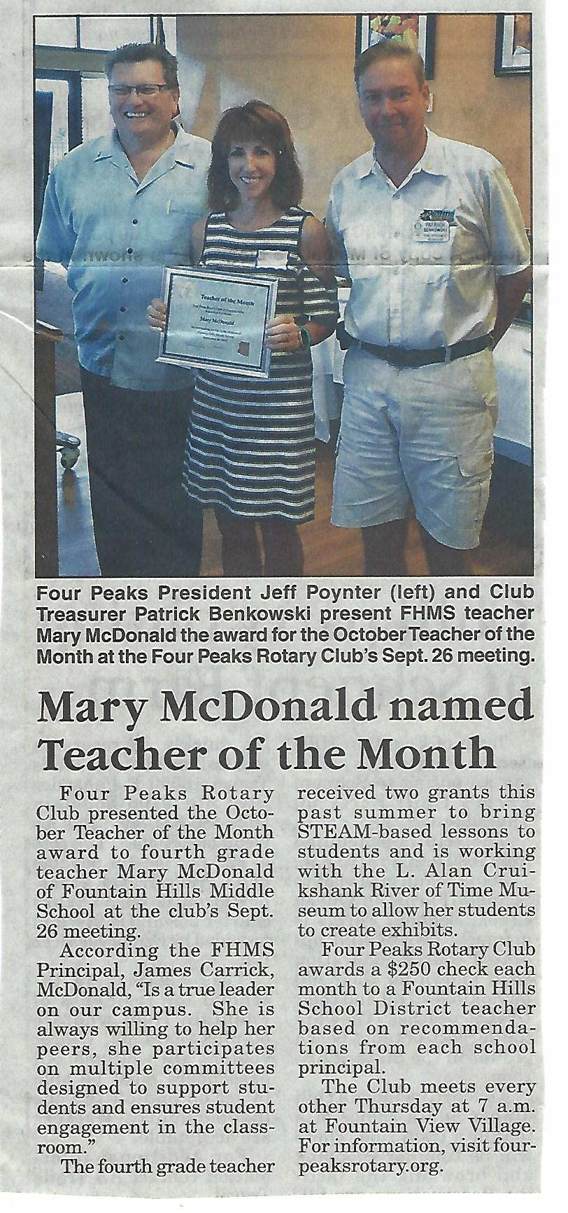 Four Peaks Rotary Club Teacher of the Month
